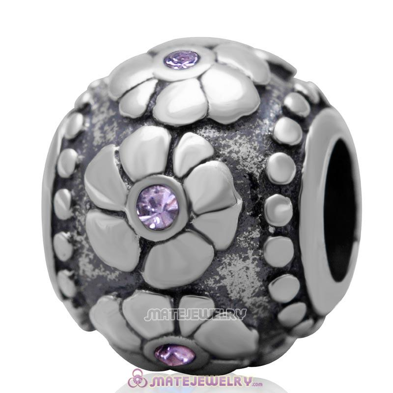 Antique Silver European Style Flower with Violet Australian Crystal Charm Bead