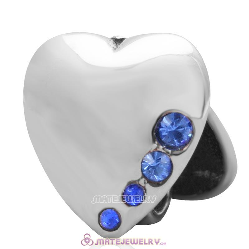925 Sterling Silver Heart to Heart with Sapphire Australian Crystal Charm