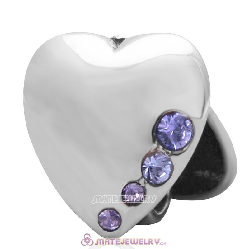 925 Sterling Silver Heart to Heart with Tanzanite Australian Crystal Charm