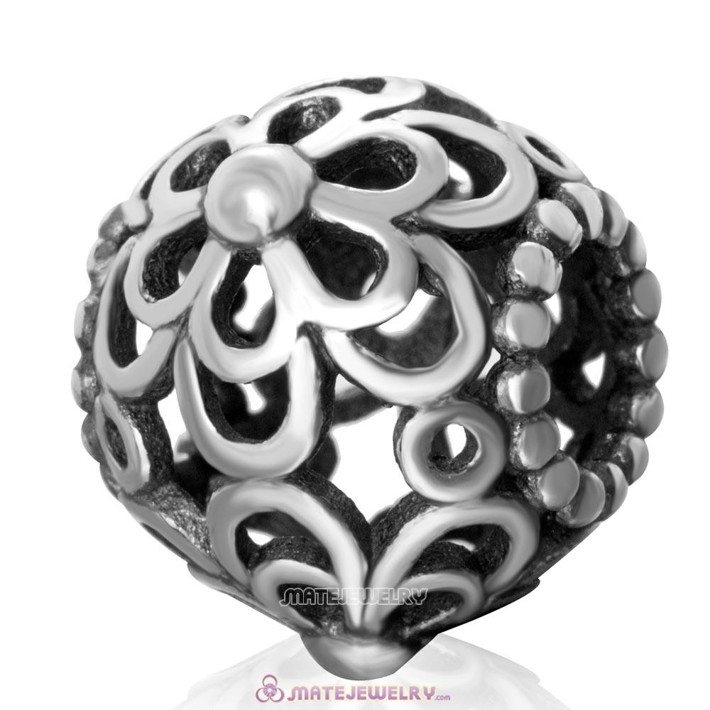 Picking Daisies Charm Antique Sterling Silver European Beads Wholesale