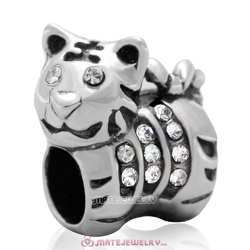 Tiger Charm Sterling Silver Beads with Clear Austrian Crystal