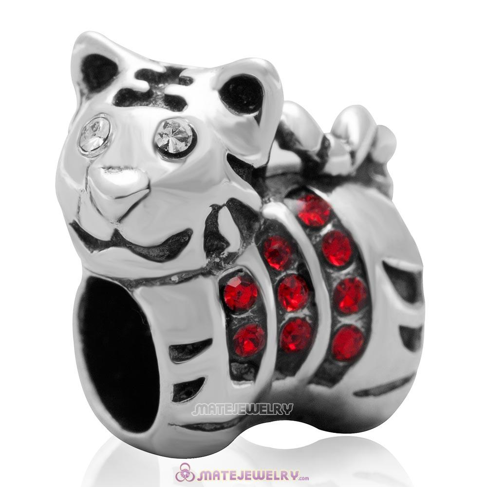 Tiger Charm Sterling Silver Beads with Lt Siam Austrian Crystal
