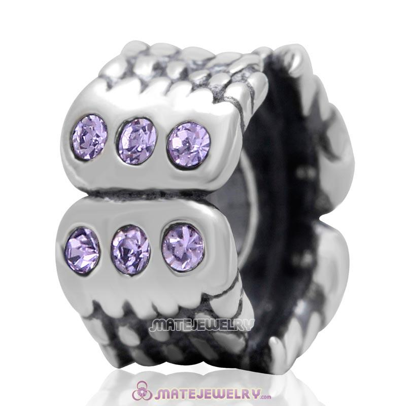 Wings Charm Sterling Silver Beads with Violet Austrian Crystal
