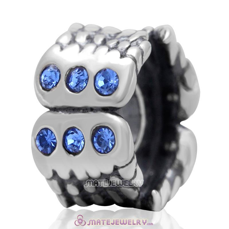Wings Charm Sterling Silver Beads with Sapphire Austrian Crystal