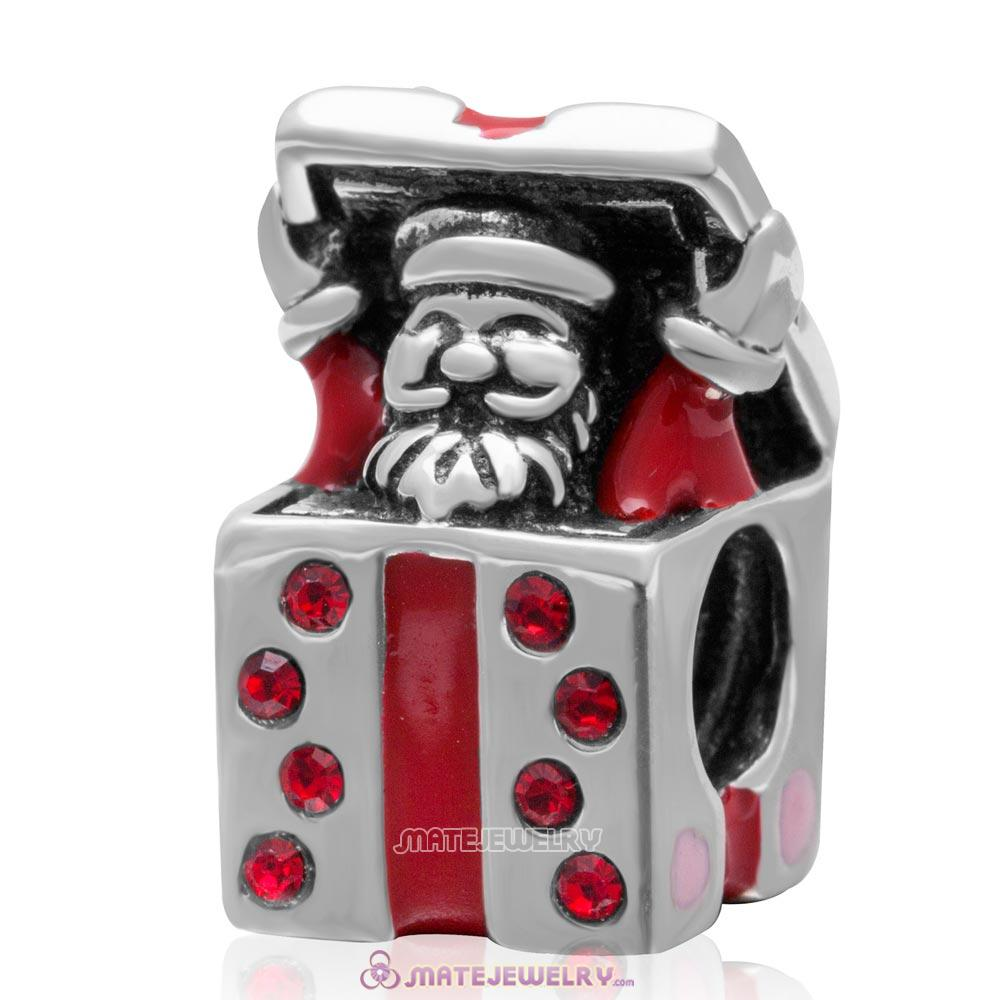 Santa Claus Gift Charm Red Enamel Sterling Silver Beads with Lt Siam Crystal