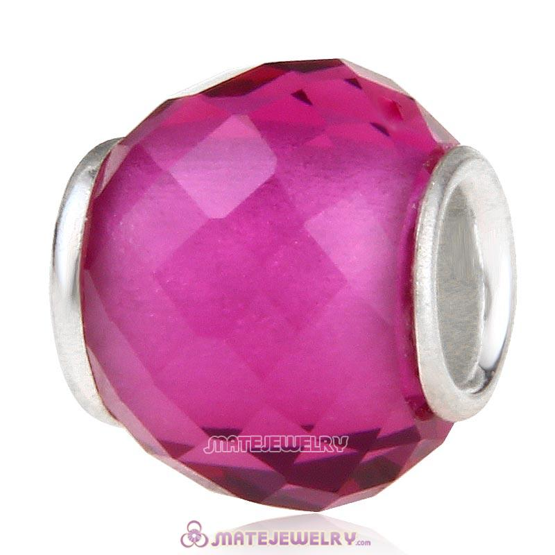 Petite Facets with Fuchsia Quartz Glass Beads with Sterling Silver Single Core European Style