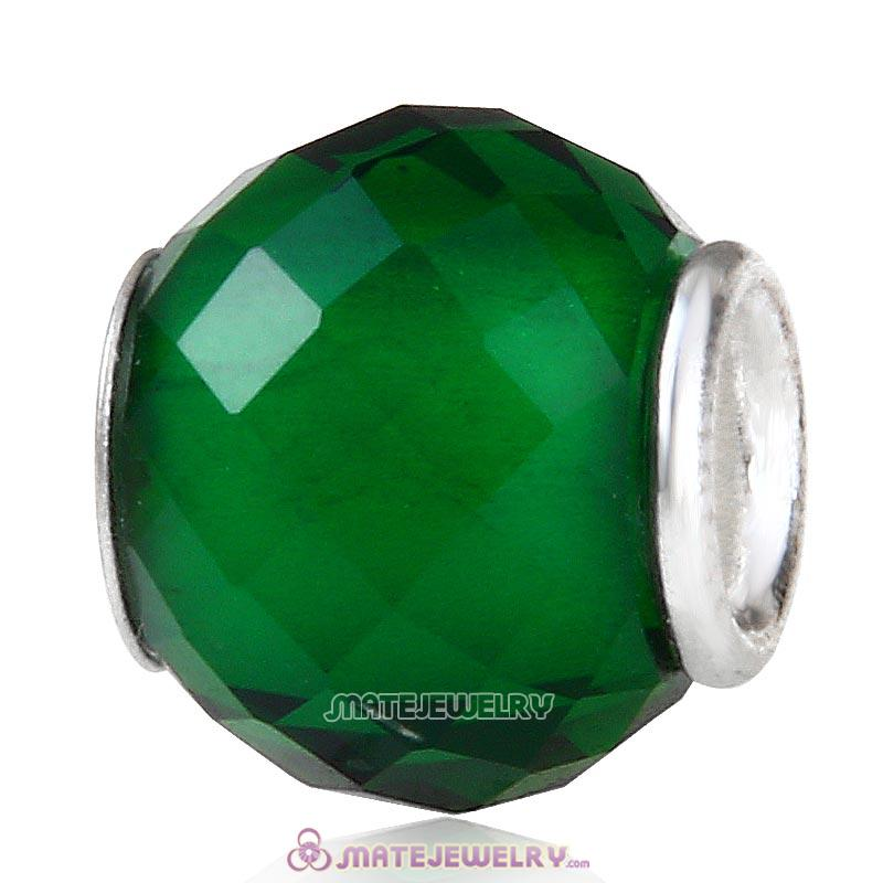 Petite Facets with Emerald Quartz Glass Beads with Sterling Silver Single Core European Style