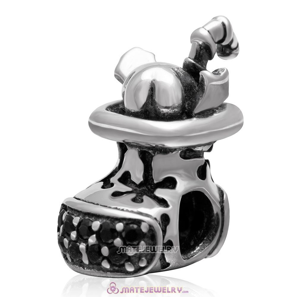 925 Sterling Silver Christmas Boot Charm Bead with Black CZ Stone