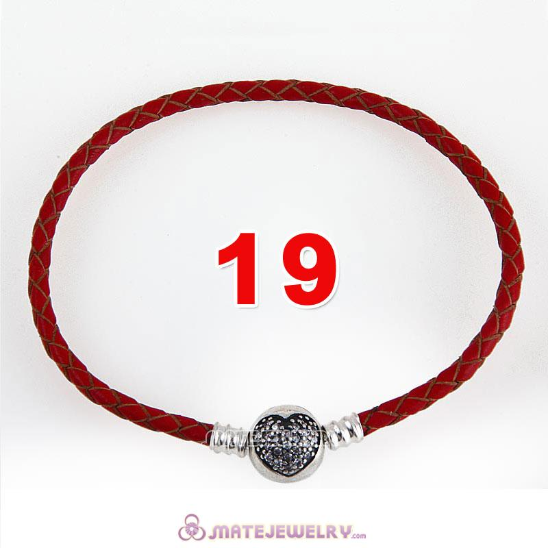 19cm Red Braided Leather Bracelet 925 Silver Love of My Life Round Clip with Heart White CZ Stone