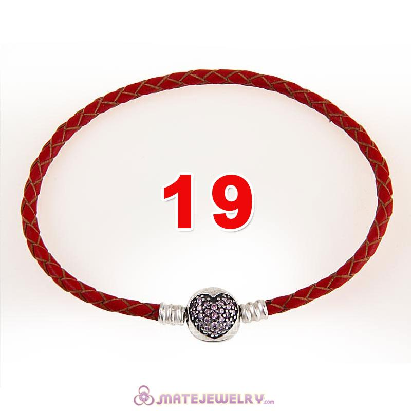 19cm Red Braided Leather Bracelet 925 Silver Love of My Life Round Clip with Heart Pink CZ Stone