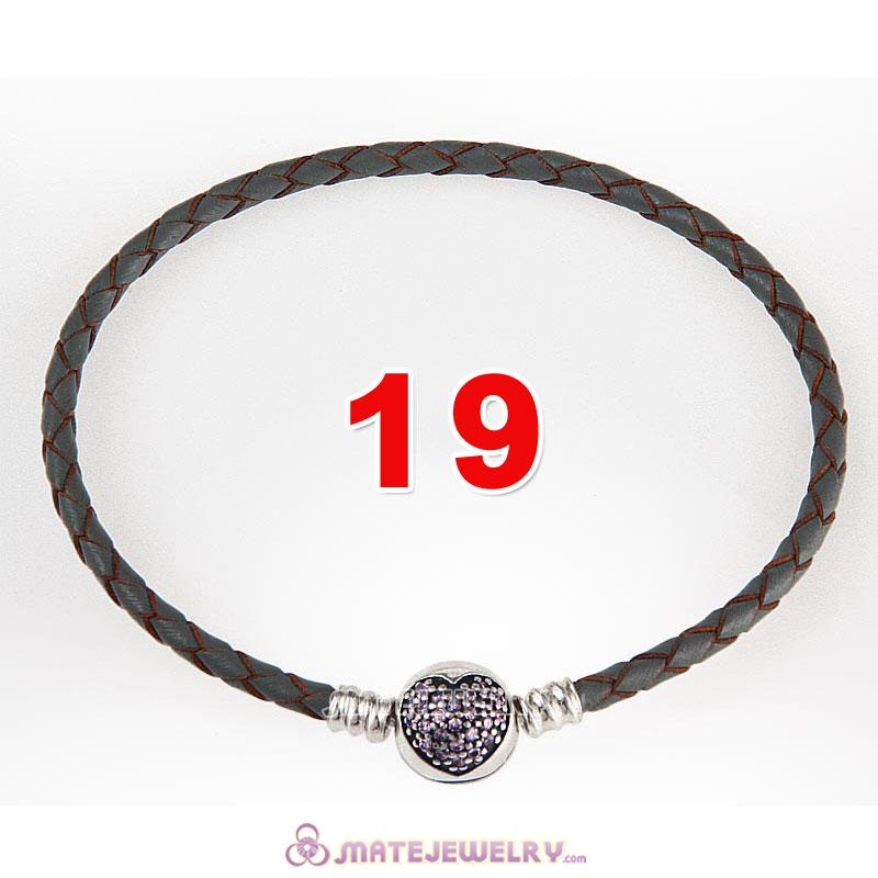 19cm Gray Braided Leather Bracelet 925 Silver Love of My Life Round Clip with Heart Pink CZ Stone