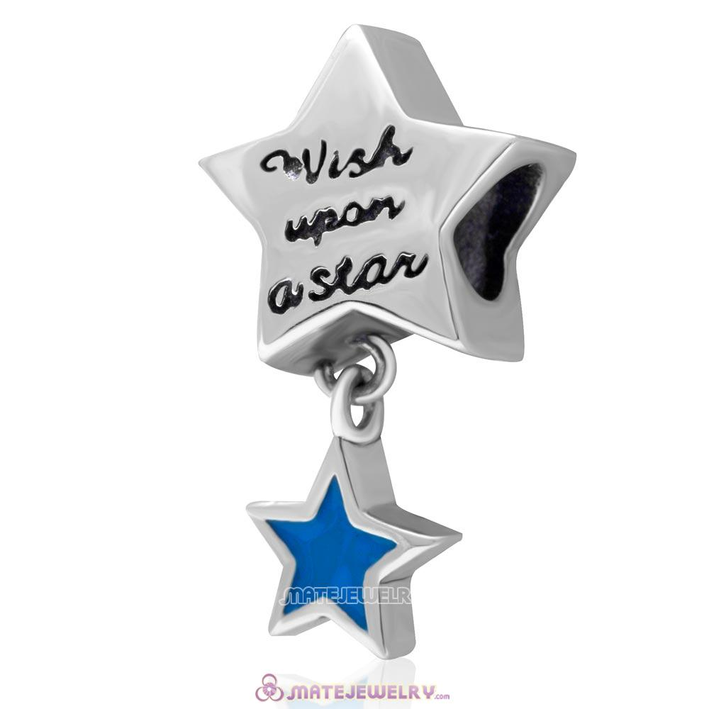 Wish Upon a Star 925 Sterling Silver Pendant Charm with Blue Enamel