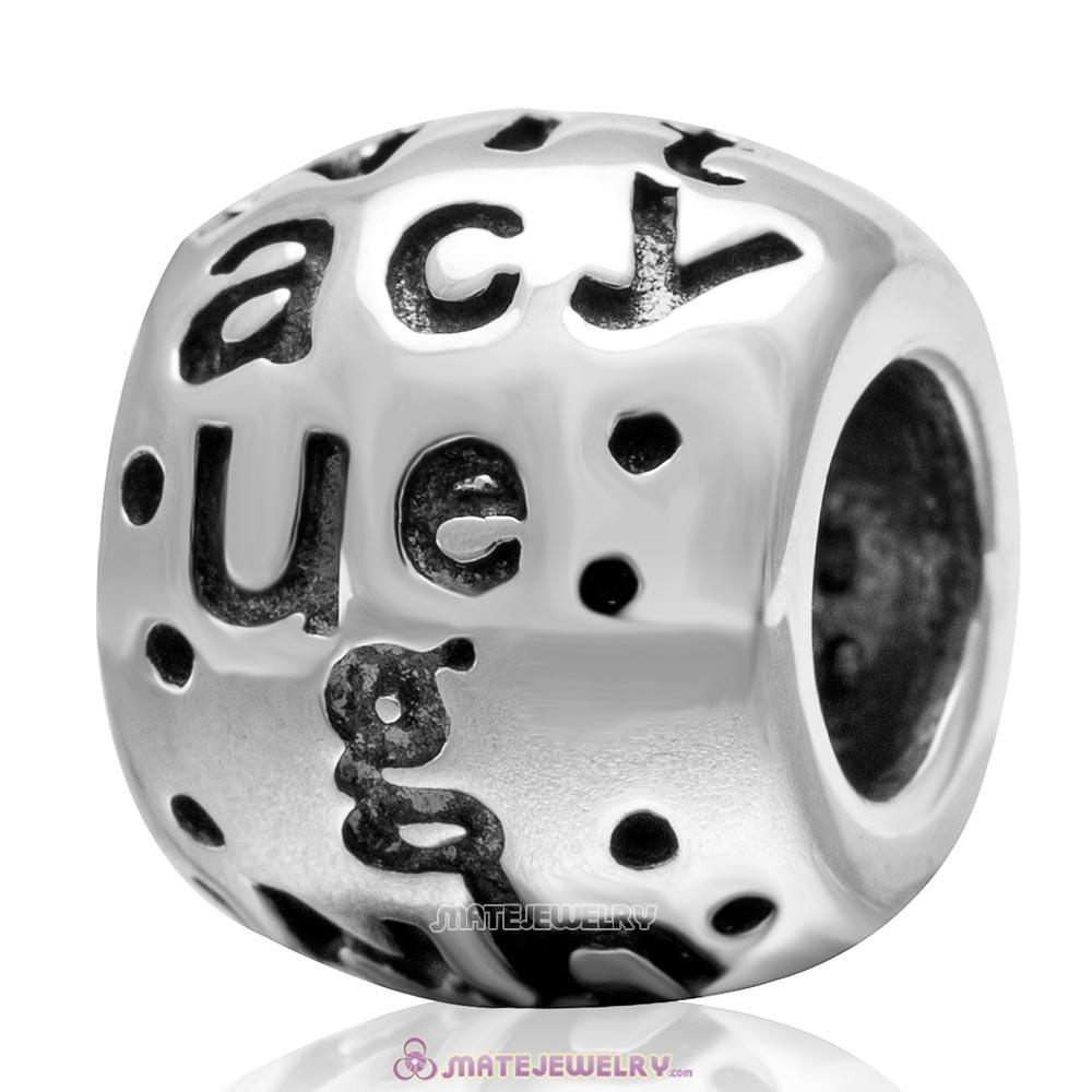 Letters Charm Antique 925 Sterling Silver European Bead