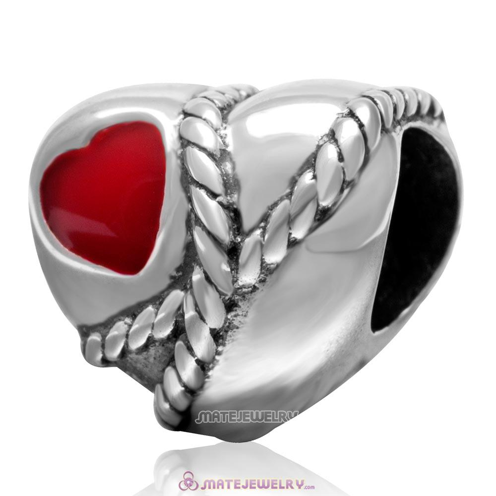 Antique 925 Sterling Silver Red Heart Shaped Rope Bead