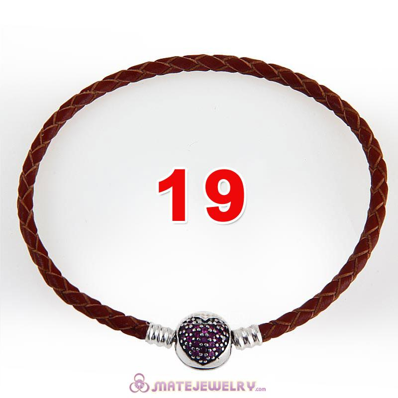 19cm Brown Braided Leather Bracelet 925 Silver Love of My Life Round Clip with Heart Red CZ Stone