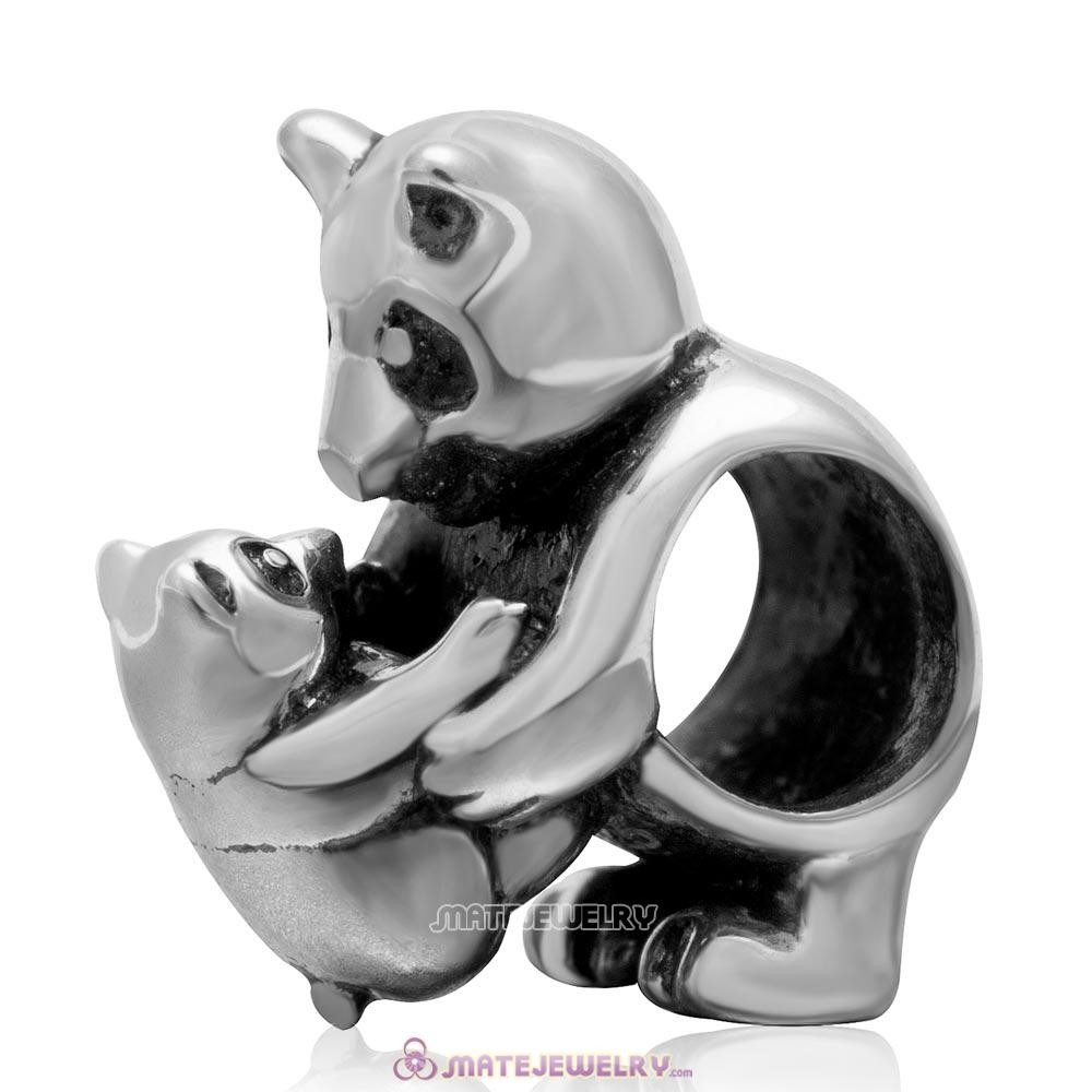 Mother and Baby Panda Antique 925 Sterling Silver Bead