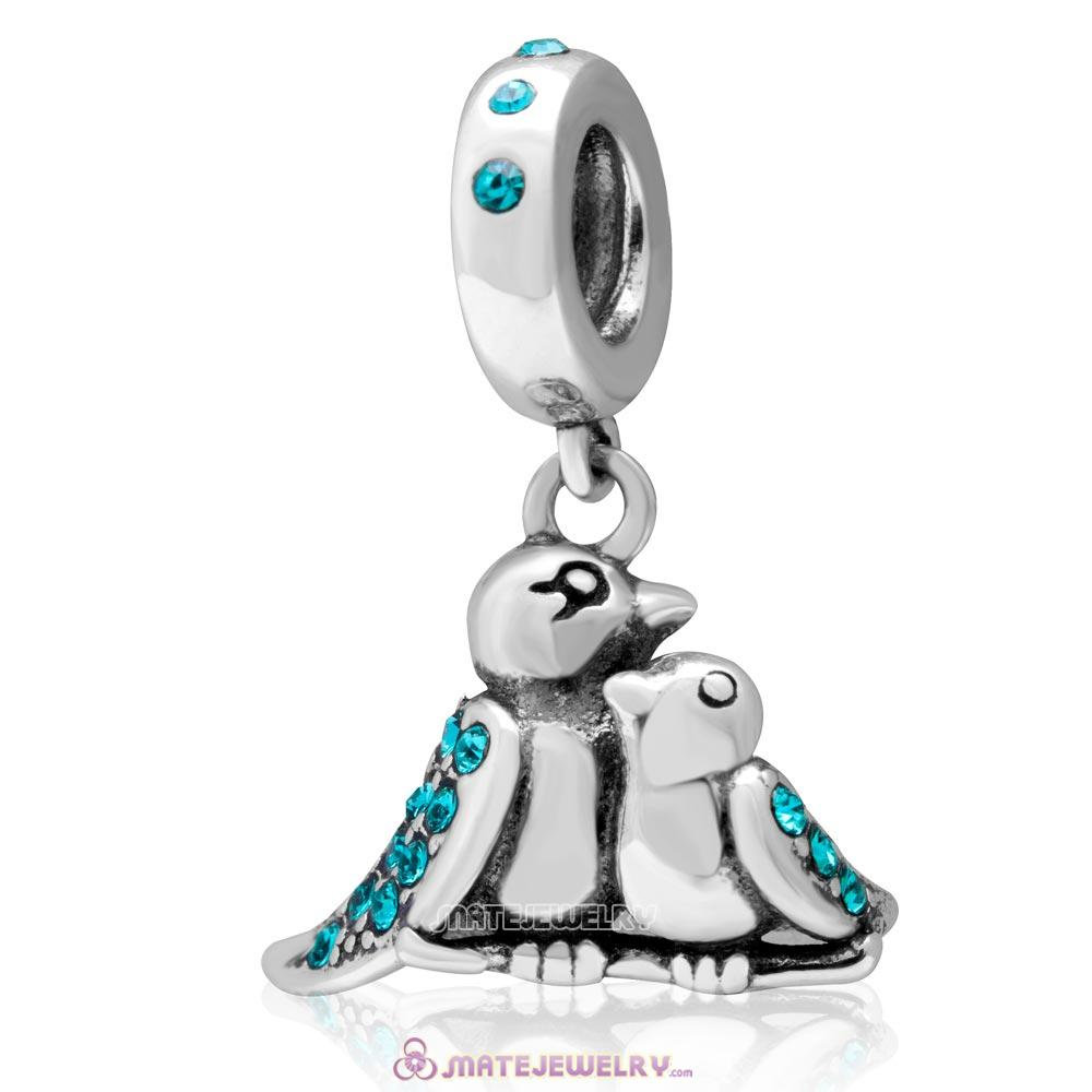 Birds Of A Feather 925 Sterling Silver Blue Zircon Austrian Crystals Charm