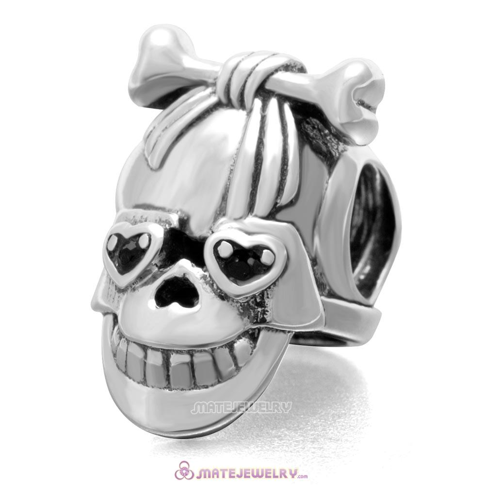 Horrible Skeleton Charm 925 Sterling Silver with Jet  Australian Crystal