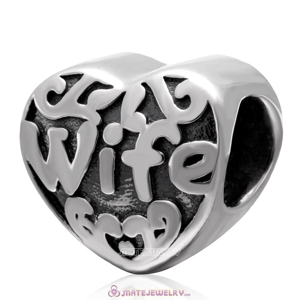 Love Wife Antique 925 Sterling Silver Heart Bead