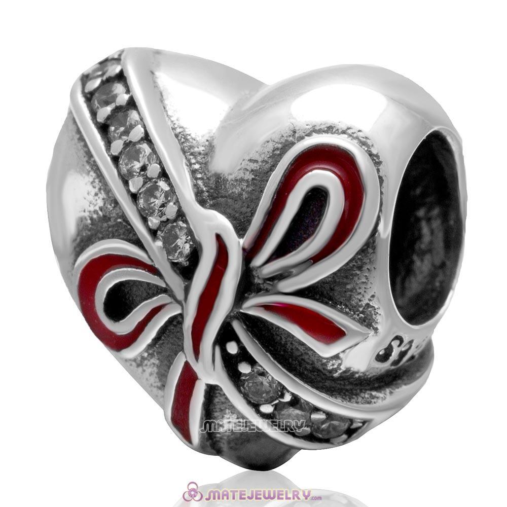 Present wth Red Bow Charm Antique 925 Sterling Silver Zircon Stone Bead