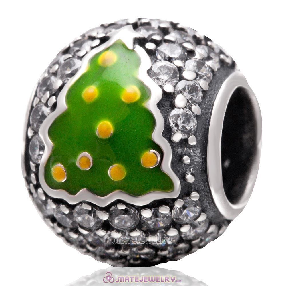 Christmas Tree Charm 925 Sterling Silver Zircon Stone Bead