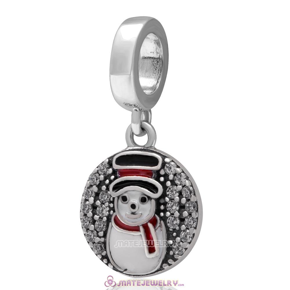 Christmas Snowman Dangle Charm 925 Sterling Silver with Zircon Stone