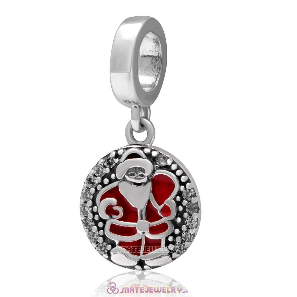 Christmas Santa Claus Dangle Charm 925 Sterling Silver with Zircon Stone