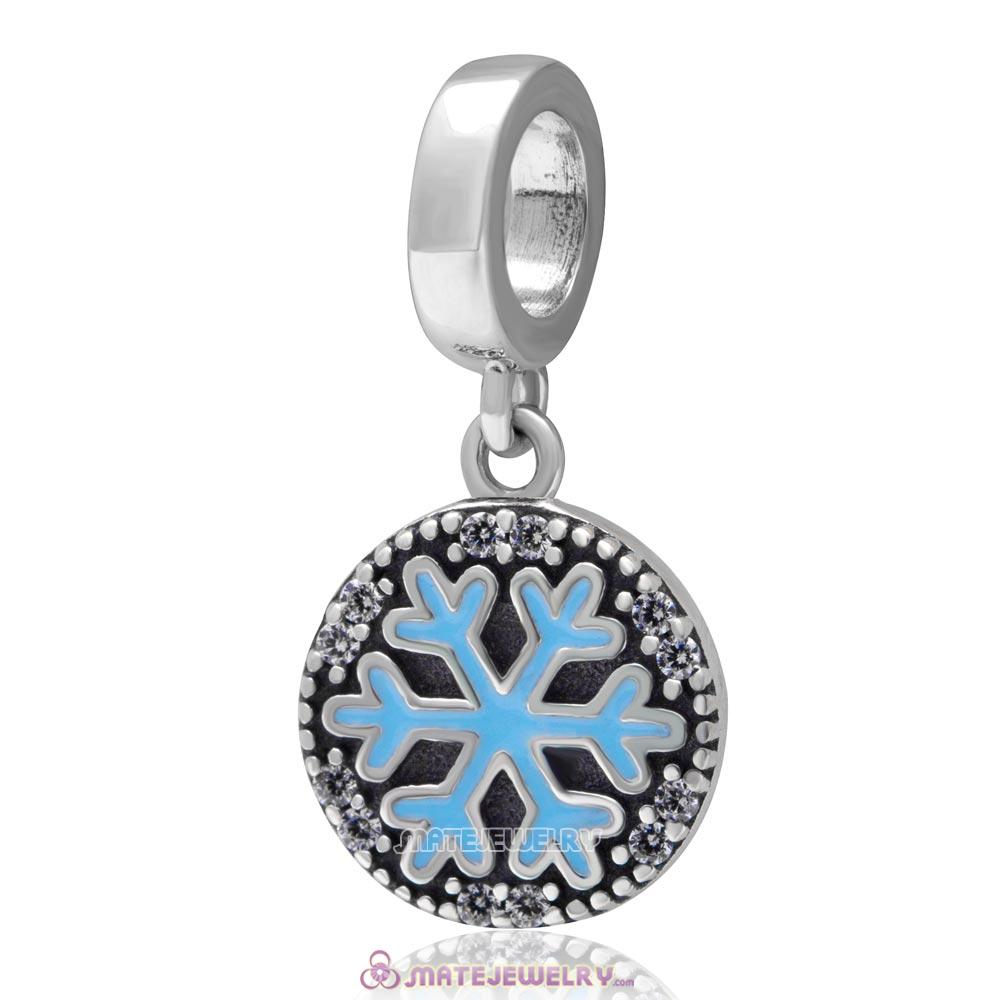 Christmas Snowflake Dangle Charm 925 Sterling Silver with Zircon Stone