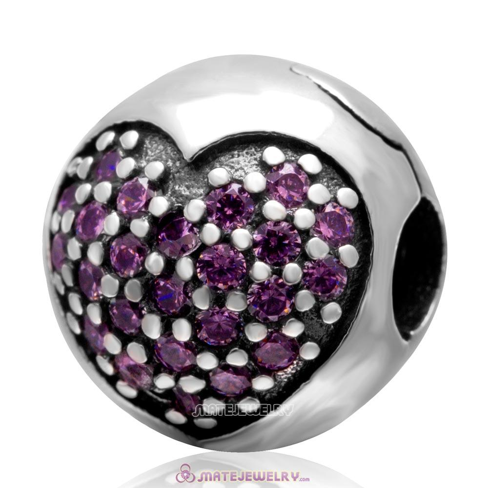 Handmade 925 Sterling Silver Love Of My Life Clip Charm Beads with Pink CZ Stone