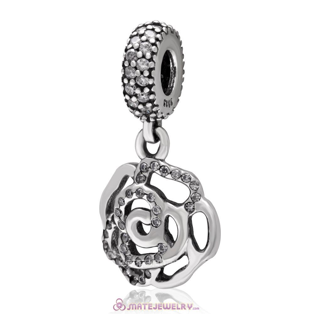 Rose Flower Dangle 925 Sterling Silver with Clear Zircon Stone Charm