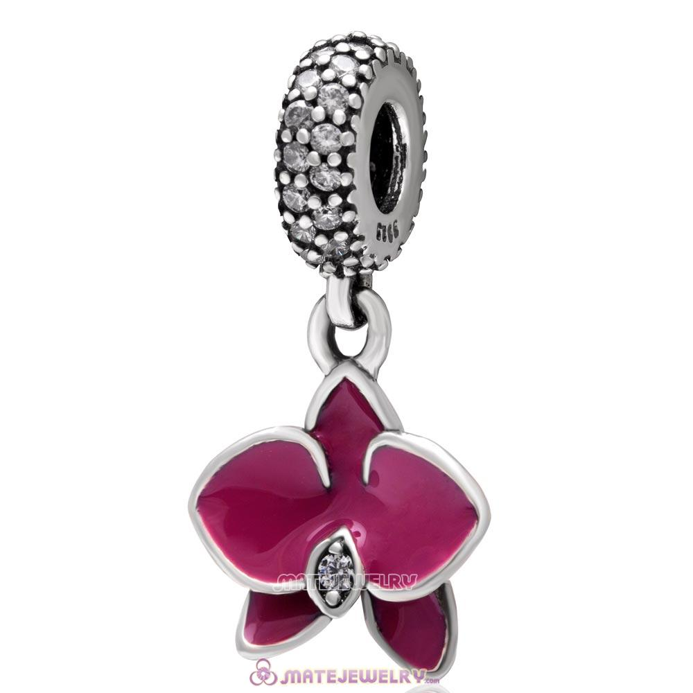 Orchid Flower Dangle 925 Sterling Silver with Clear Zircon Stone Charm
