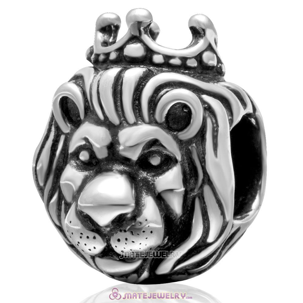 Lion King Charm Antique Sterling Silver Bead with Screw