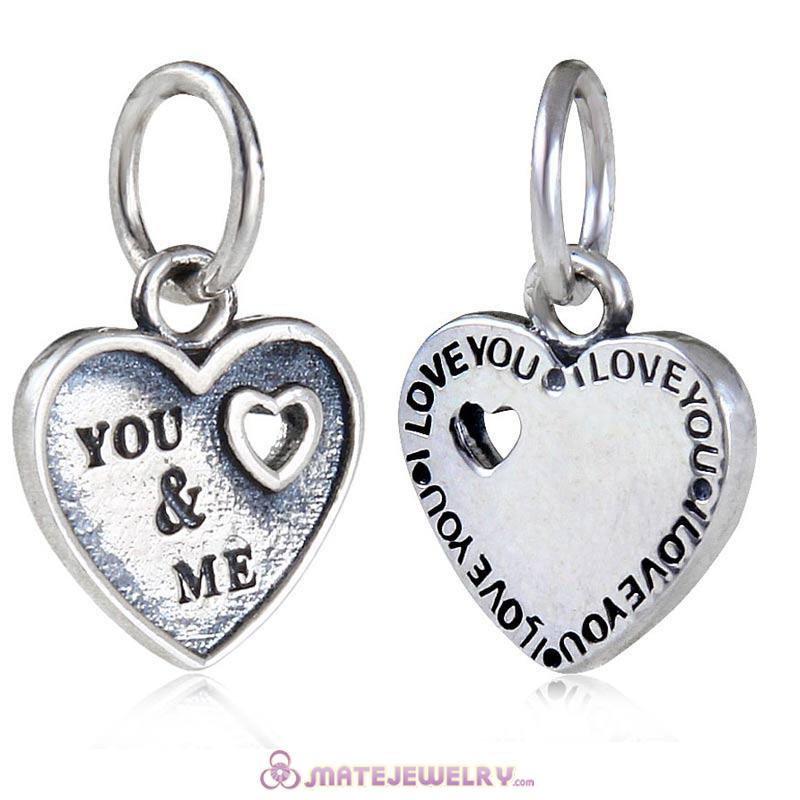Handmade 925 Sterling Silver You and Me Dangle Heart Charms