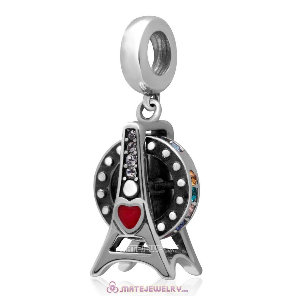 Loves Ferris Wheel Dangle 925 Sterling Silver with Colorful Australian Crystal Charm