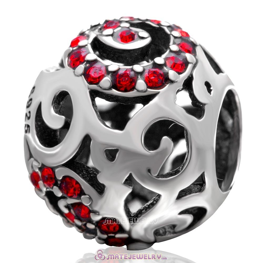 Swirl Charm European 925 Sterling Silver with Lt Siam Australian Crystal Bead