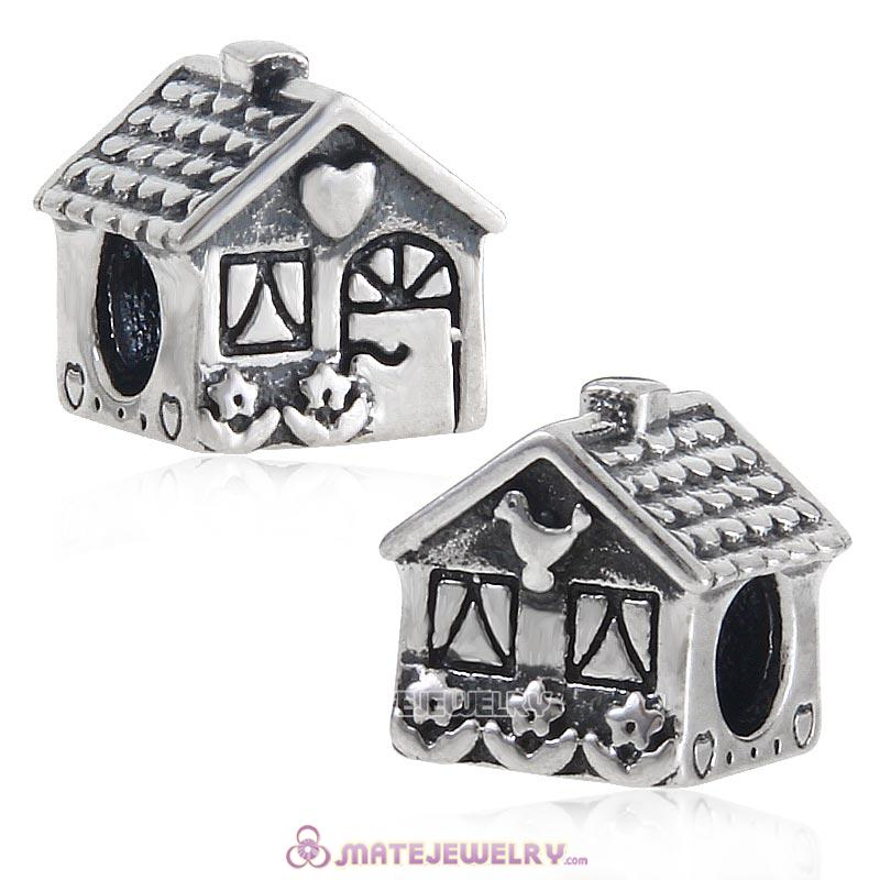 HOME SWEET HOME Antique Sterling Silver Bead