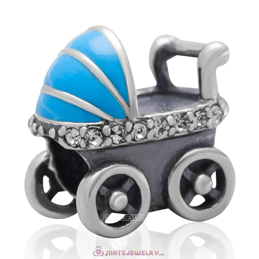 Baby Carriage Charm 925 Sterling Silver Bead with Clear Australian Crystal