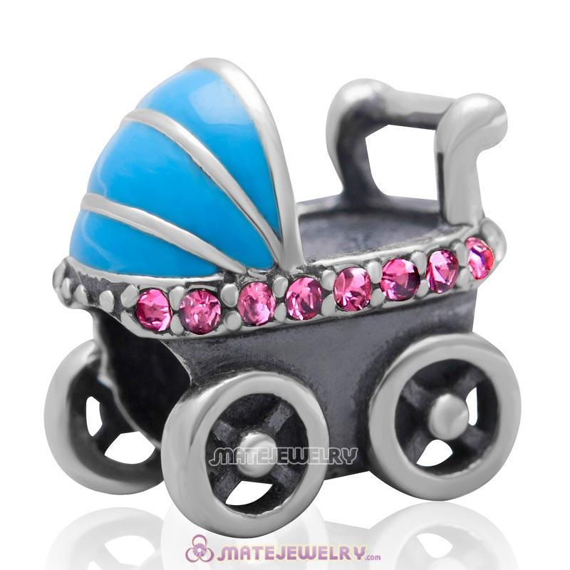 Baby Carriage Charm 925 Sterling Silver Bead with Rose Australian Crystal