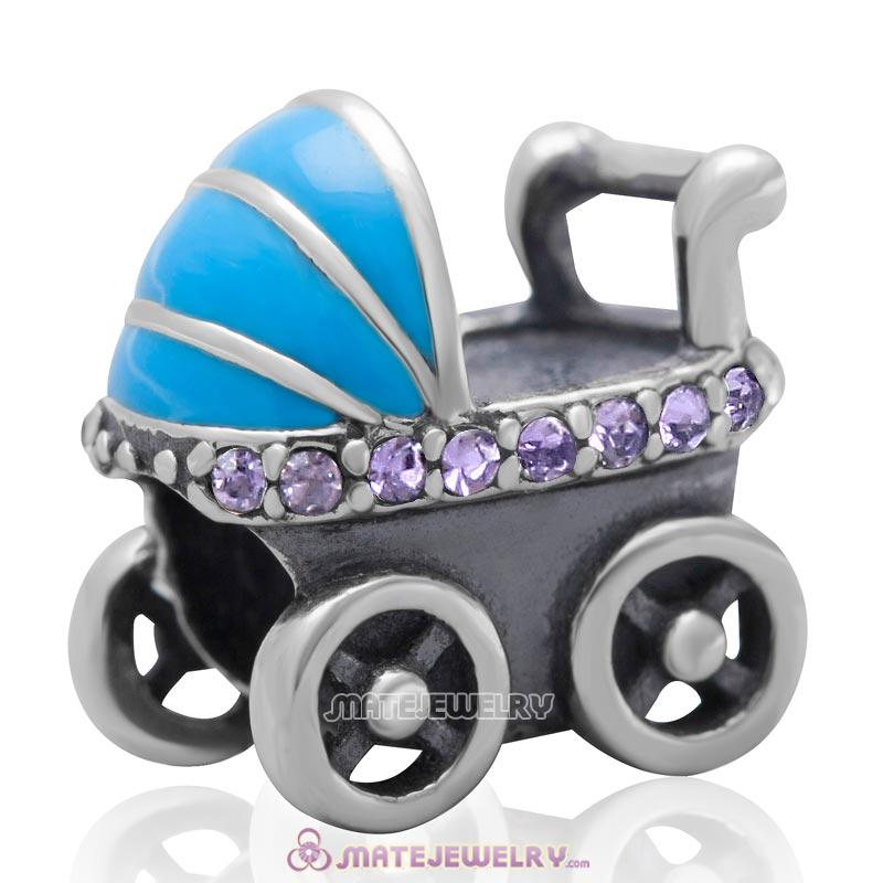 Baby Carriage Charm 925 Sterling Silver Bead with Tanzanite Australian Crystal