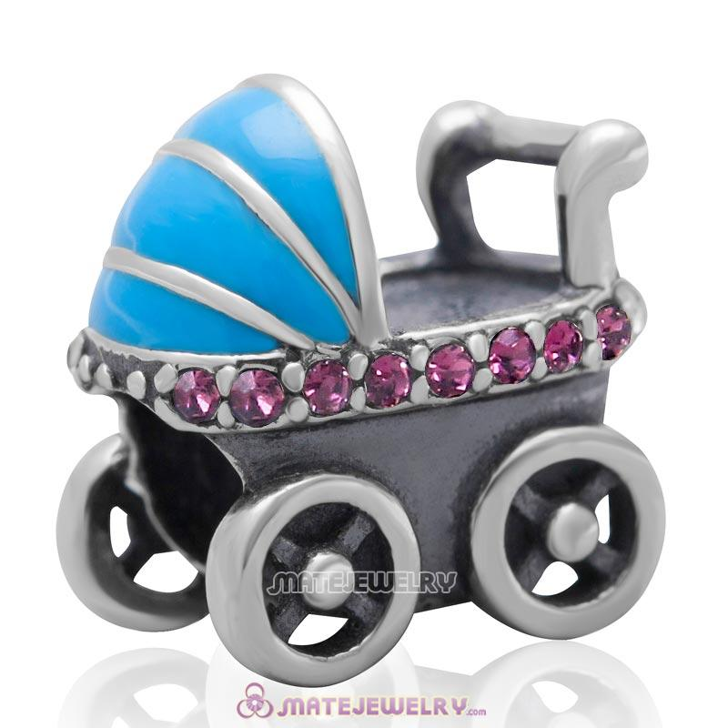 Baby Carriage Charm 925 Sterling Silver Bead with Amethyst Australian Crystal