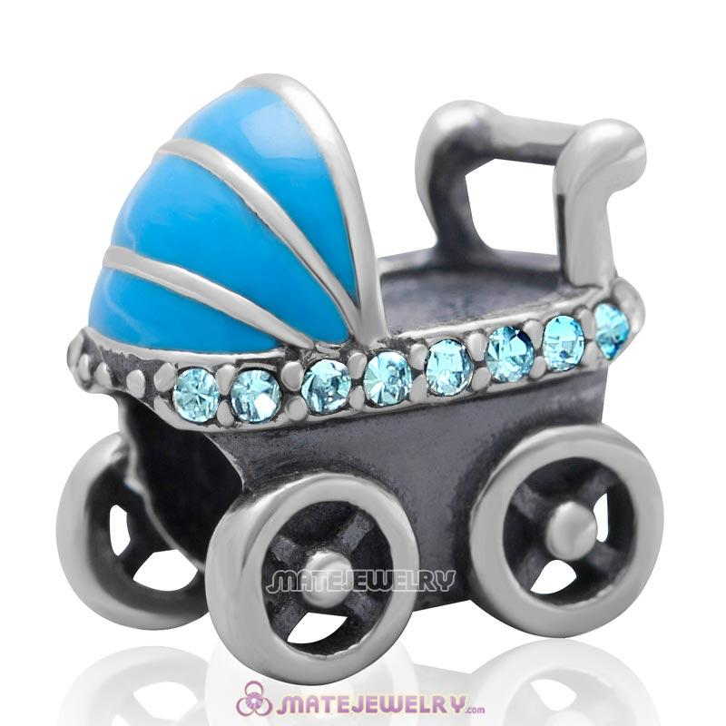 Baby Carriage Charm 925 Sterling Silver Bead with Aquamarine Australian Crystal