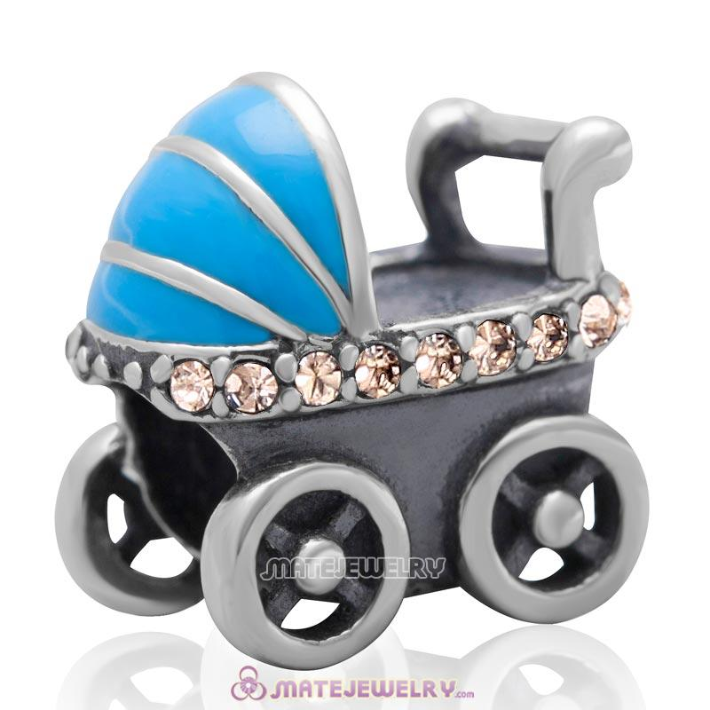 Baby Carriage Charm 925 Sterling Silver Bead with Lt Peach Australian Crystal