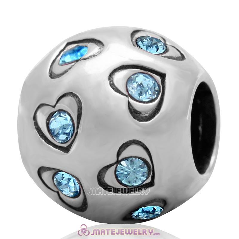 Love All Round Charm 925 Sterling Silver Bead with Aquamarine Australian Crystal