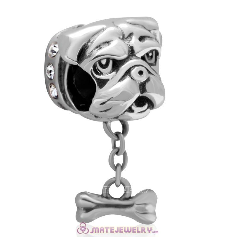 Cute Shar-Pei Charm 925 Sterling Silver with Clear Australian Crystal