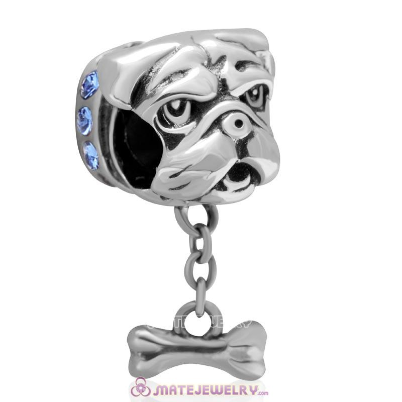 Cute Shar-Pei Charm 925 Sterling Silver with Sapphire Australian Crystal