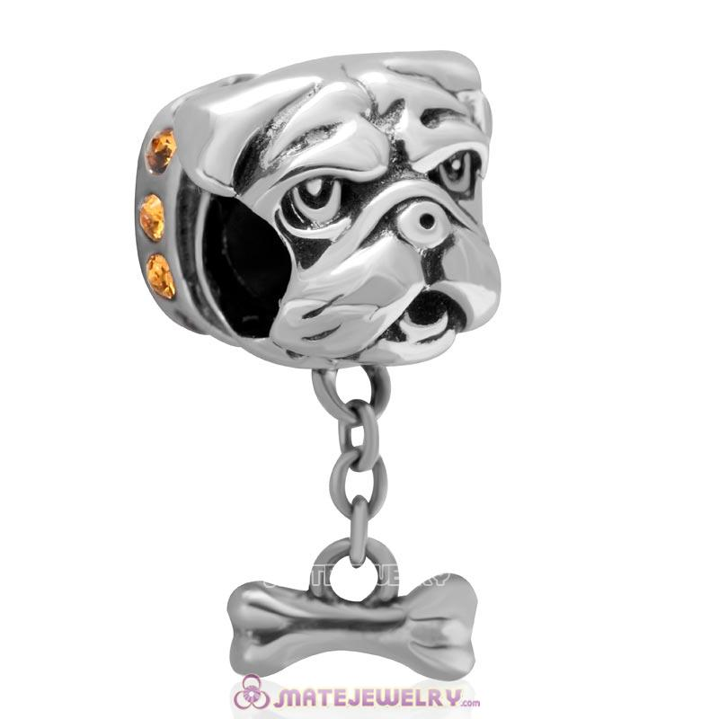 Cute Shar-Pei Charm 925 Sterling Silver with Topaz Australian Crystal