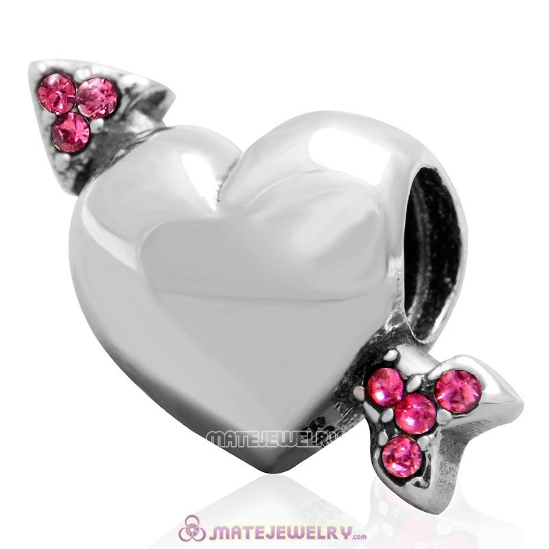 Heart Arrow of Cupid Love 925 Sterling Silver Bead with Rose Australian Crystal