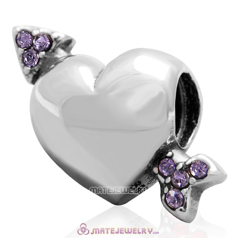 Heart Arrow of Cupid Love 925 Sterling Silver Bead with Tanzanite Australian Crystal