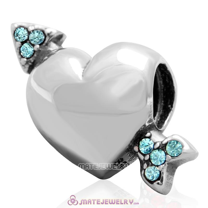 Heart Arrow of Cupid Love 925 Sterling Silver Bead with Aquamarine Australian Crystal