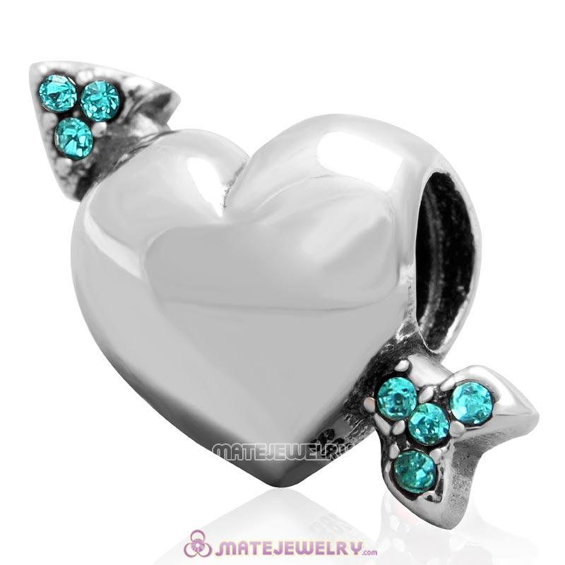 Heart Arrow of Cupid Love 925 Sterling Silver Bead with Blue Zircon Australian Crystal